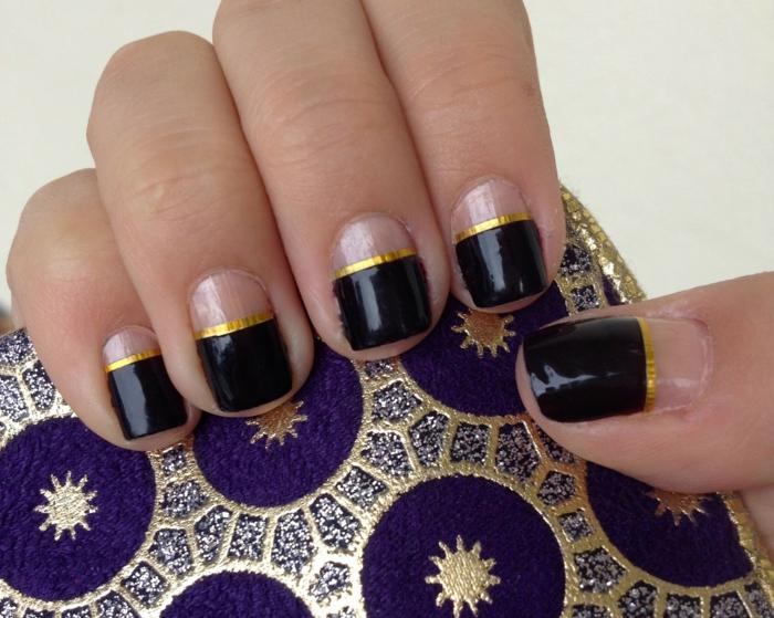 nagellack ideen french maniküre nageltrends schwarz goldene streifen