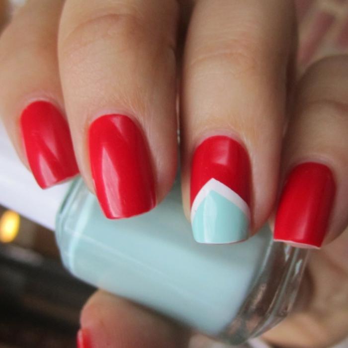 nagellack ideen rot blau kombination schönheit