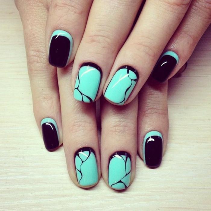nagellack ideen schwarz grün farbkombination
