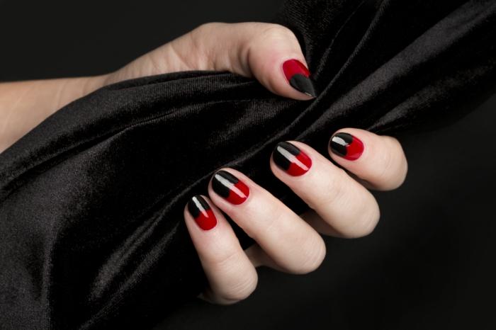nagellack ideen schwarz rot kombination