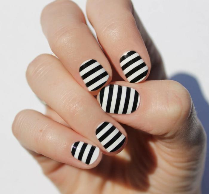 nagellack ideen zebra weiß schwarz modern