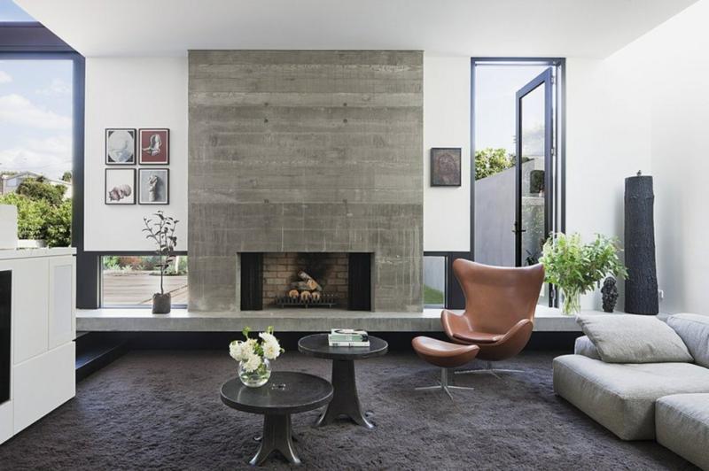 neue wohntrends klassische wohnungseinrichtung kamin betonwand - Neue Moderne Wohnungseinrichtung