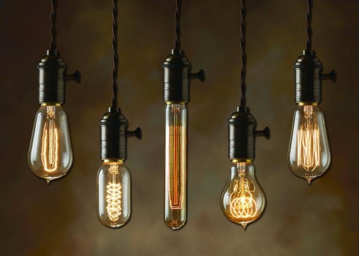 raumgestaltung möbelkauf beleuchtung glühbirne vintage design moderne hängeleuchten