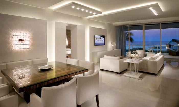 raumgestaltung beleuchtung modern led wohnzimmer esszimmer