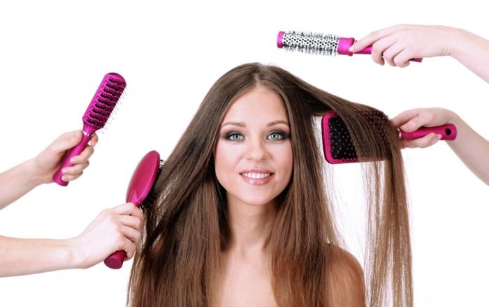 richtige haarpflege winter lange haare pflegen haarbürten