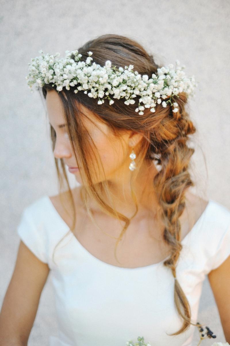 romantischer Haarschmuck Braut Blumen Flechtfrisuren Hochzeit