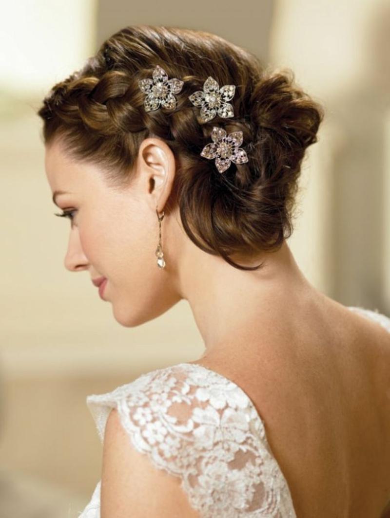 romantischer Haarschmuck Braut Blumen Spangen Flechtfrisur