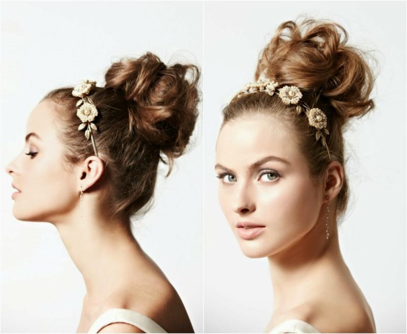 romantischer Haarschmuck Braut Hochsteckfrisur mit Diadem