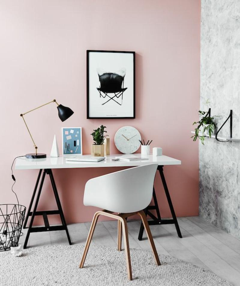 rosa Wandfarbe Arbeitszimmer skandinavisch einrichten Wandfarben kombinieren