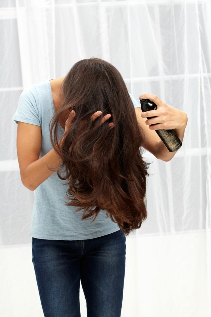 schöne haare richtige pflege schutzspray haartrockner