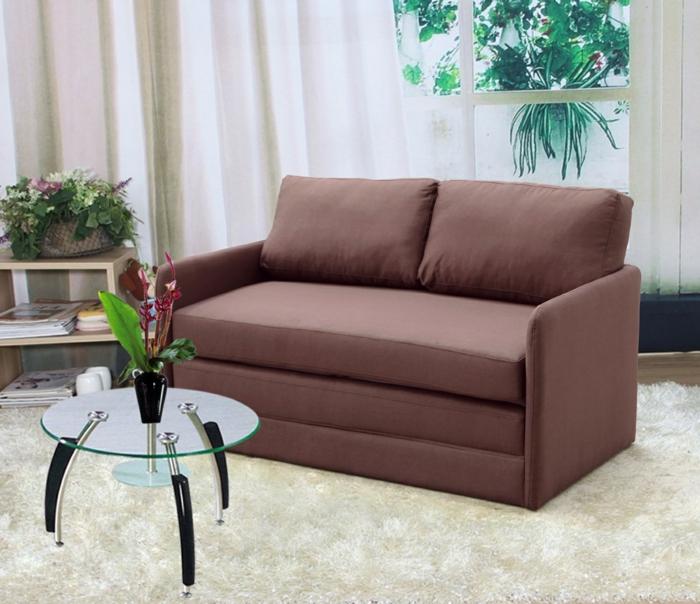 schlafsofa design braun kompaktes design weißer teppich beistelltisch