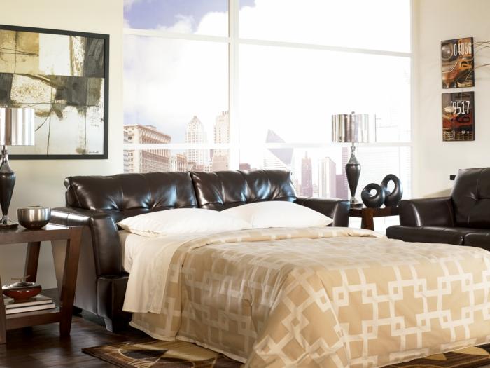 schlafsofa design elegant funktional braun leder panoramafenster