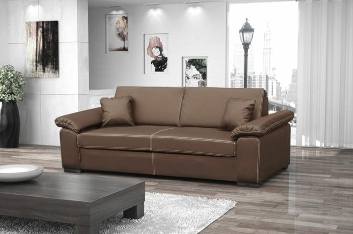 schlafsofa design ledersofa braun wohnzimmer einrichten luftige gardinen