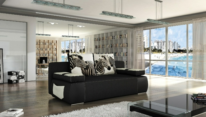 schlafsofa design schwarz dekokissen wohnzimmer