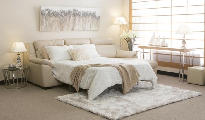 schlafsofas schick neutrale farbe kleines wohnzimmer teppich