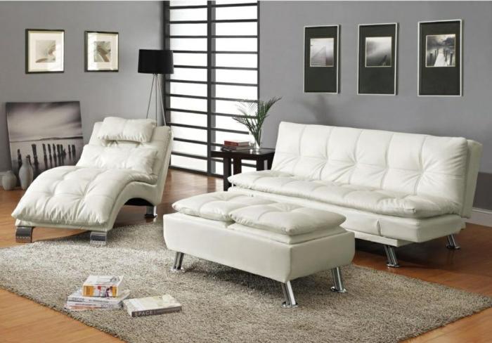 schlafsofas weiß wohnzimmer möbel set graue wände