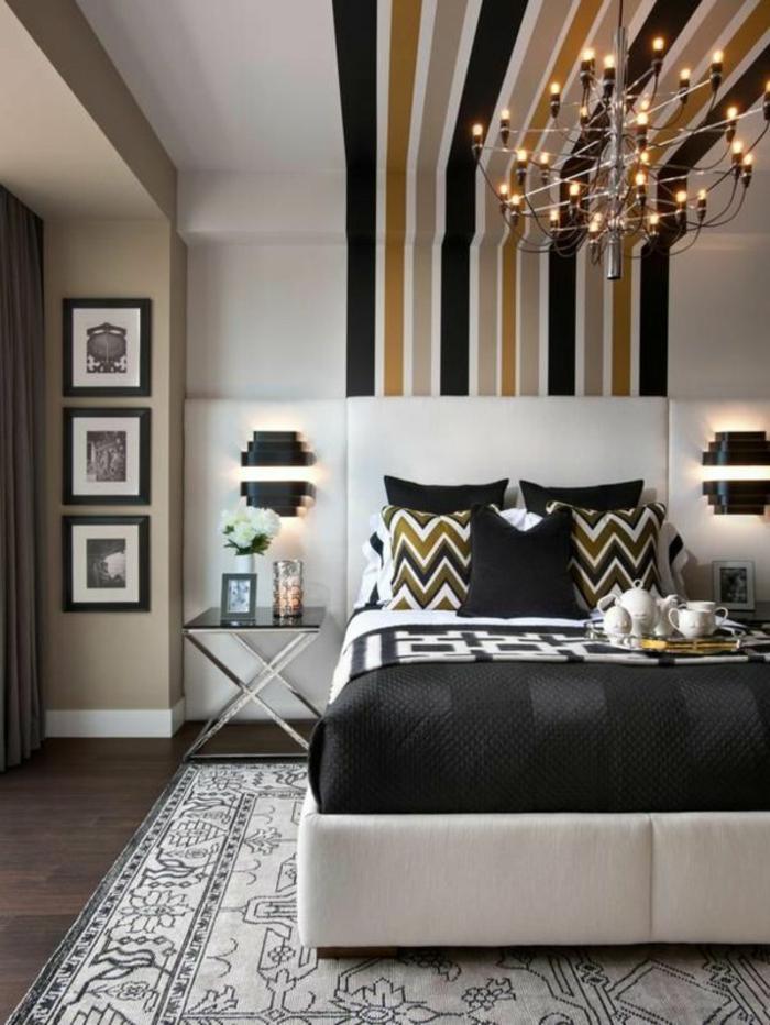 schlafzimmergestaltung bett schwarz weiß teppich deckenfarbe muster