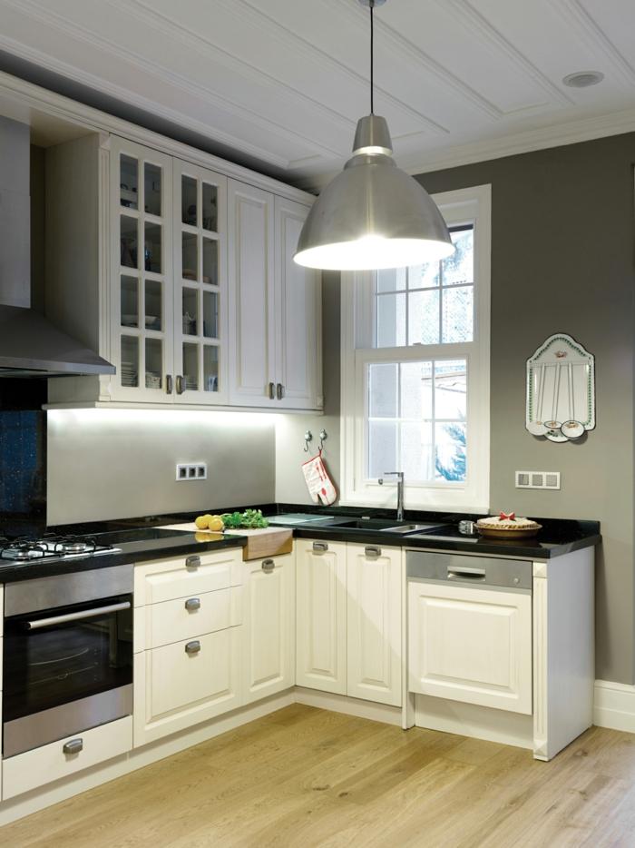schrankleuchten küche pendelleuchte graue wände