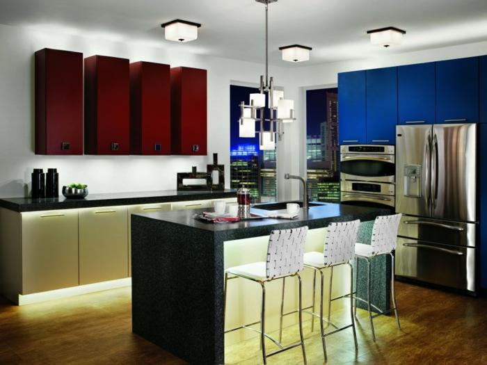 schrankleuchten küche led streifen panoramafenster schicke möbel