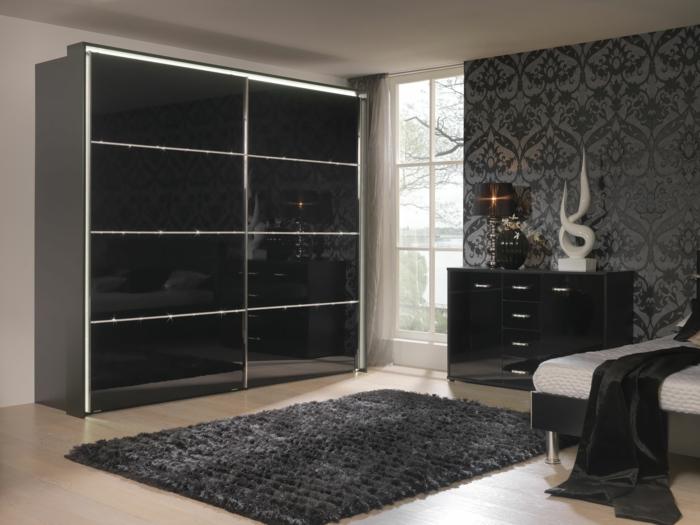 schwarzer kleiderschrank wohnideen schlafzimmer schiebetüren dunker teppich