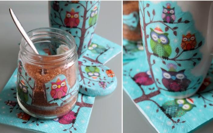 serviettentechnik decoupage papier marmeladenglas eulen
