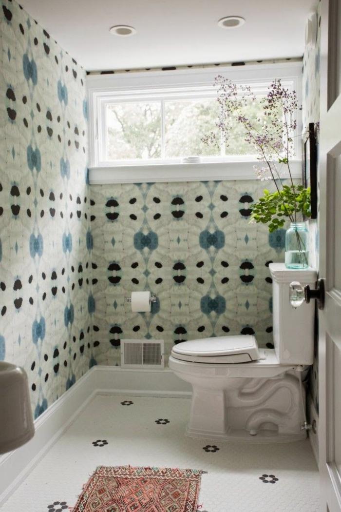 tapetenmuster badezimmer frisch teppichläufer pflanze