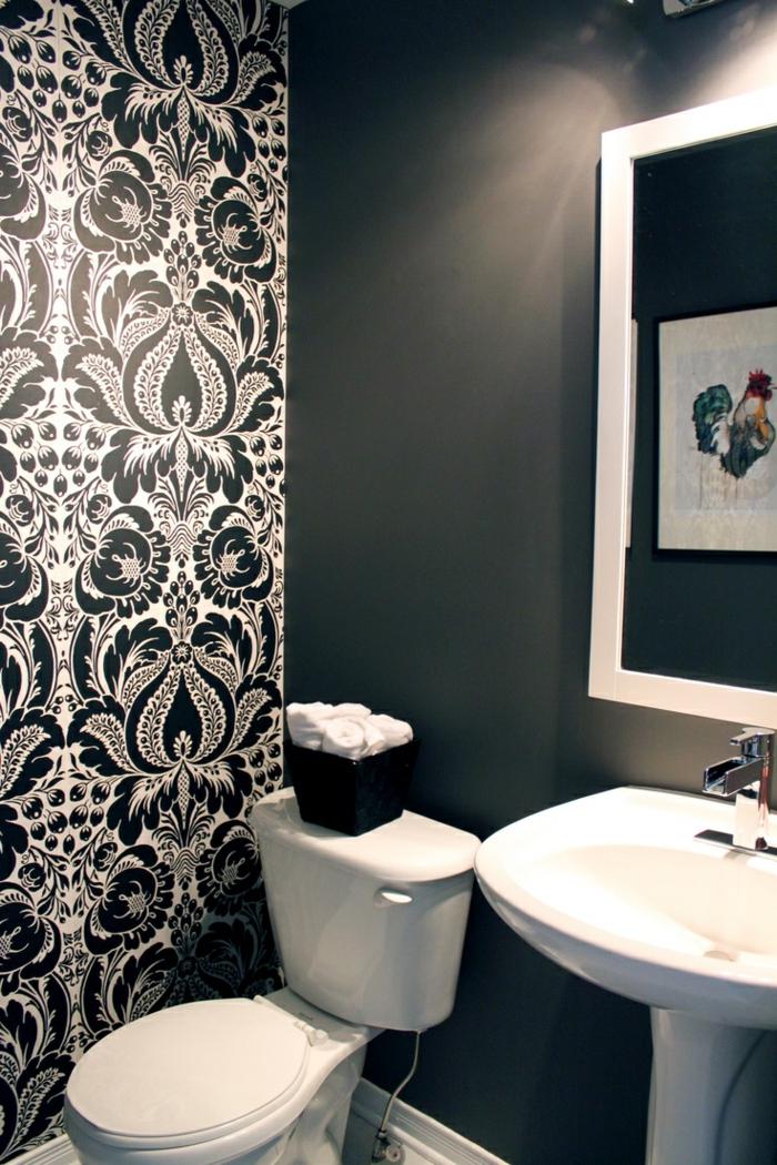 tapete muster badezimmer wandgestaltung elegante wandtapete weiß schwarz