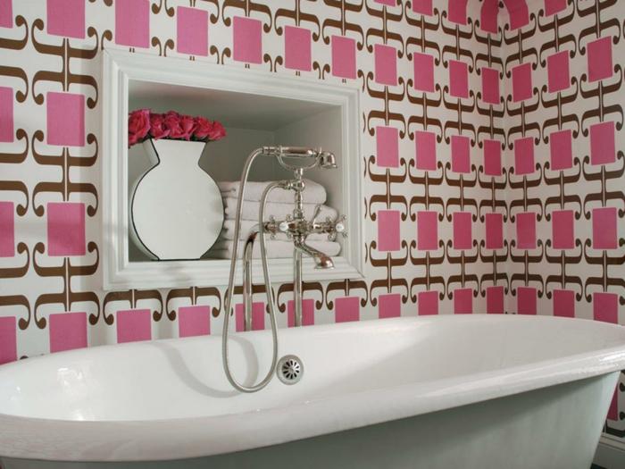 tapete muster badezimmer wandtapete frisches muster badewanne