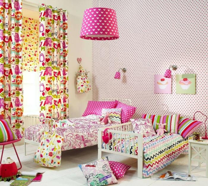 tapete muster kinderzimmer wandtapete lustige bettwäsche farbige gardinen