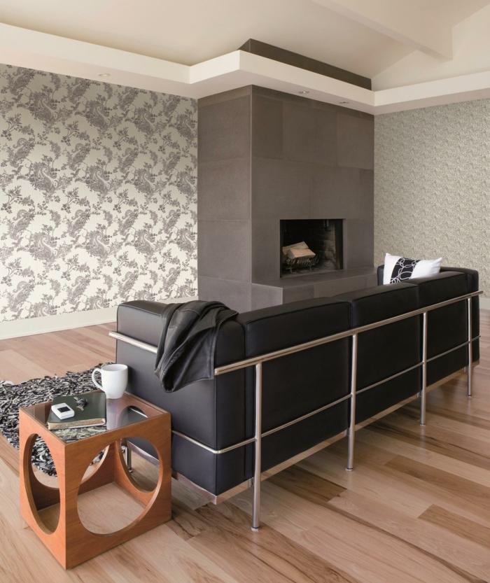 tapete wohnzimmer 2016:tapete muster wohnzimmer wandgestaltung vintage tapete