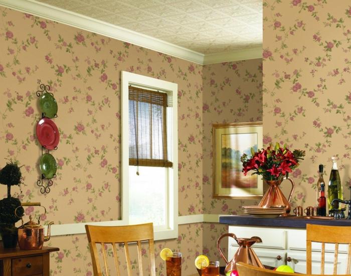 tapetenmuster esszimmer blumen wanddeko florales muster