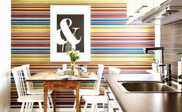 tapetenmuster-küche-streifenmuster-teppichläufer-wandgestaltung-ideen