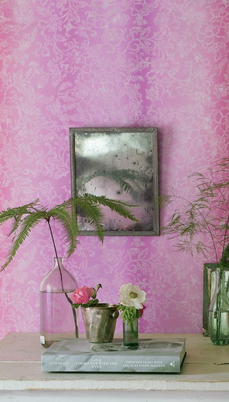 tapetenmuster rosa frisch pflanzen wohnideen