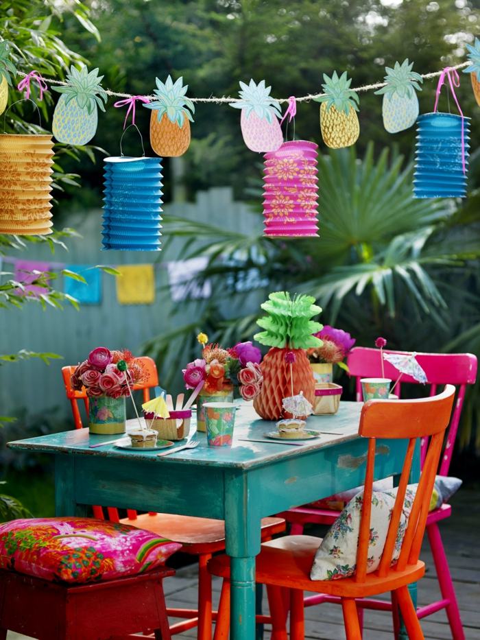 tischdeko gartenparty kreative ideen farbig gartenideen