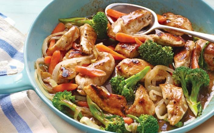 trennkost ernährung gesund frisches fleisch gemüse brokkoli möhren zwiebeln