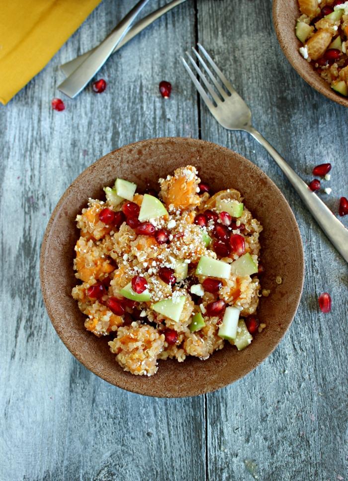 trennkost ernährung gesund frisches obst granatapfel süßkartoffeln quinoa