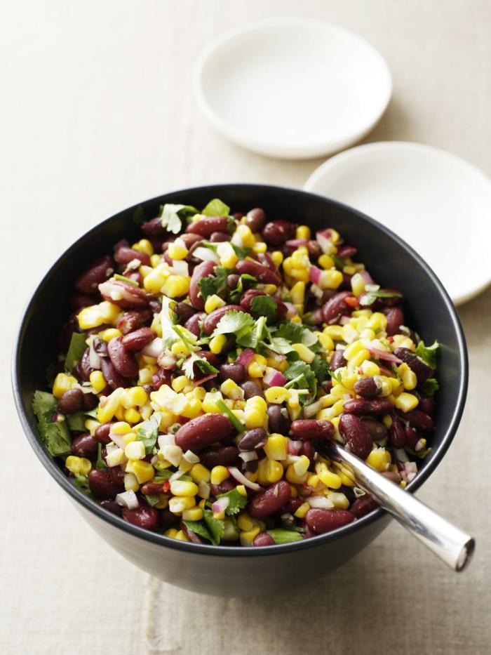 trennkost ernährung gesunde bohnen mais petersilie salat