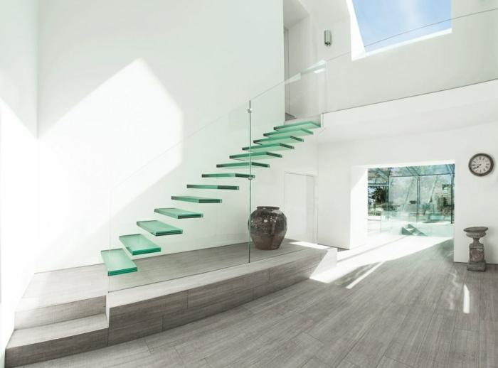 treppengeländer glas freistehnde treppenstufenglas minimalistische wohnideen