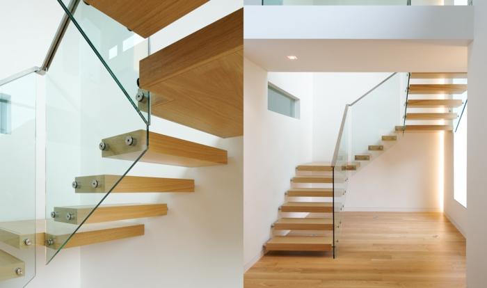 treppengeländer glas freistehnde treppenstufen hölzern