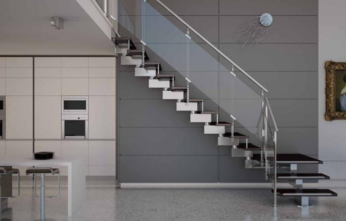 treppengeländer glas handlauf metall moderne inneneinrichtung