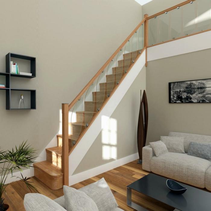 treppengeländer glas schickes treppenhaus wohnzimmer pflanze wohnzimmerdeko