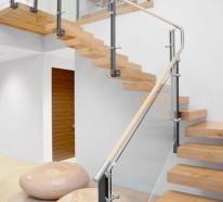 40 Treppengeländer aus Glas – Luftiges Gefühl im Innendesign einsetzen