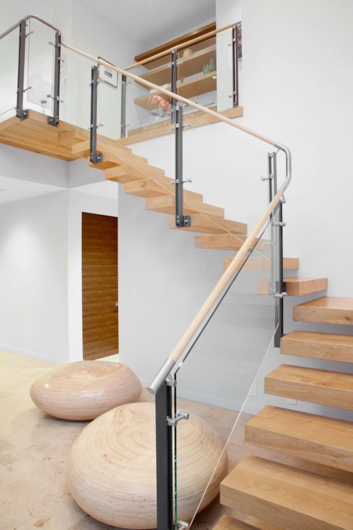 treppenhaus gestalten geländer glas treppenstufen holz wohnideen
