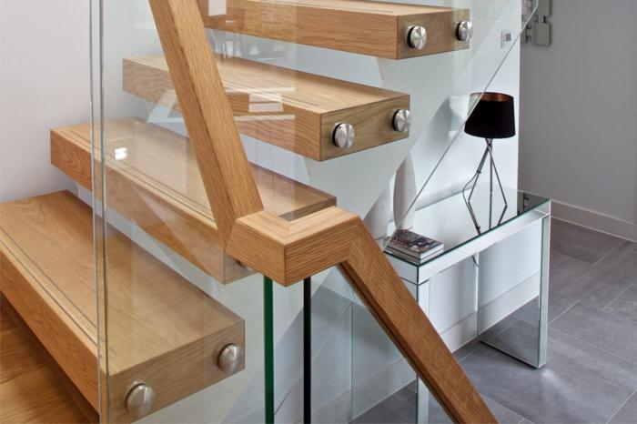 treppenhaus gestalten glas holz kombinieren
