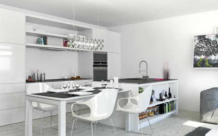 wandfarbe weiß küche graue akzente offener wohnplan