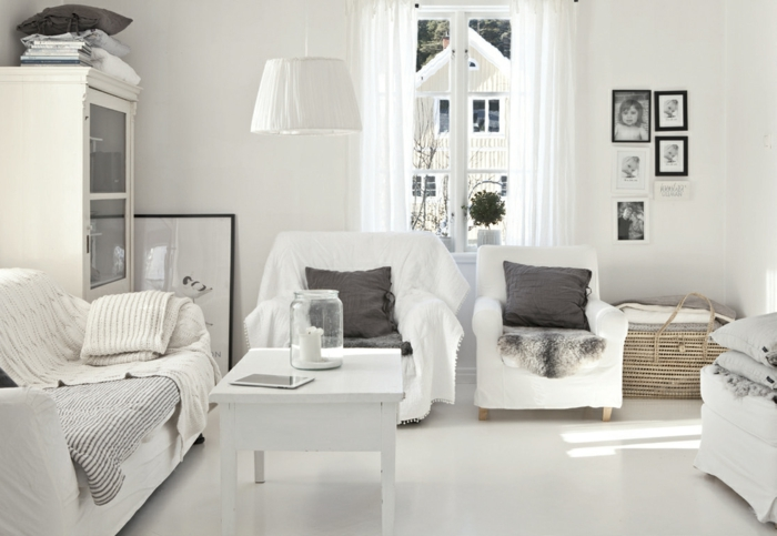 wandfarbe weiß weißer boden skandinavischer einrichtungsstil luftige gardinen