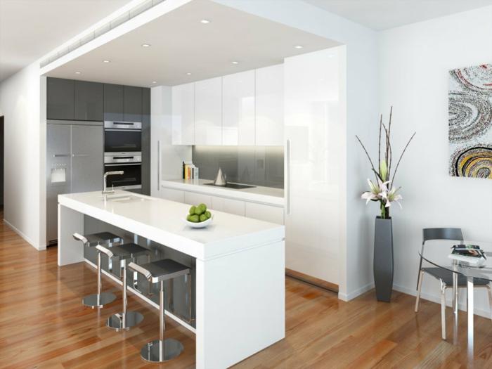 wandfarbe weiß wohnideen küche kücheninsel deko