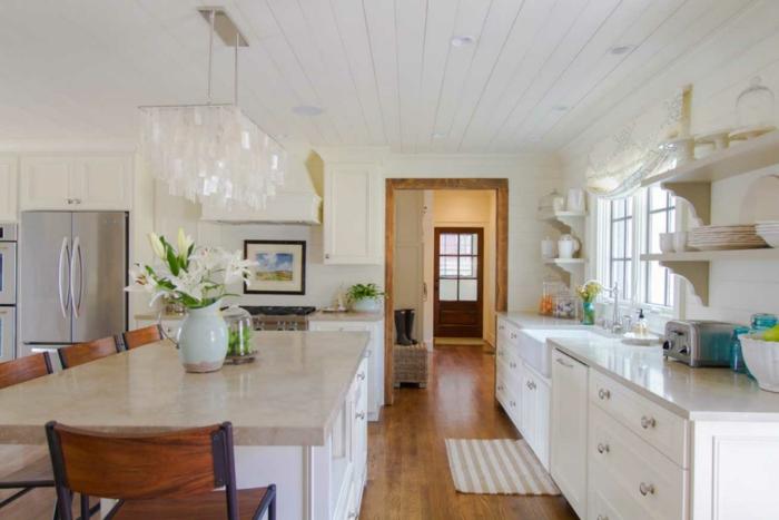 wandfarbe weiß wohnideen küche offene regale