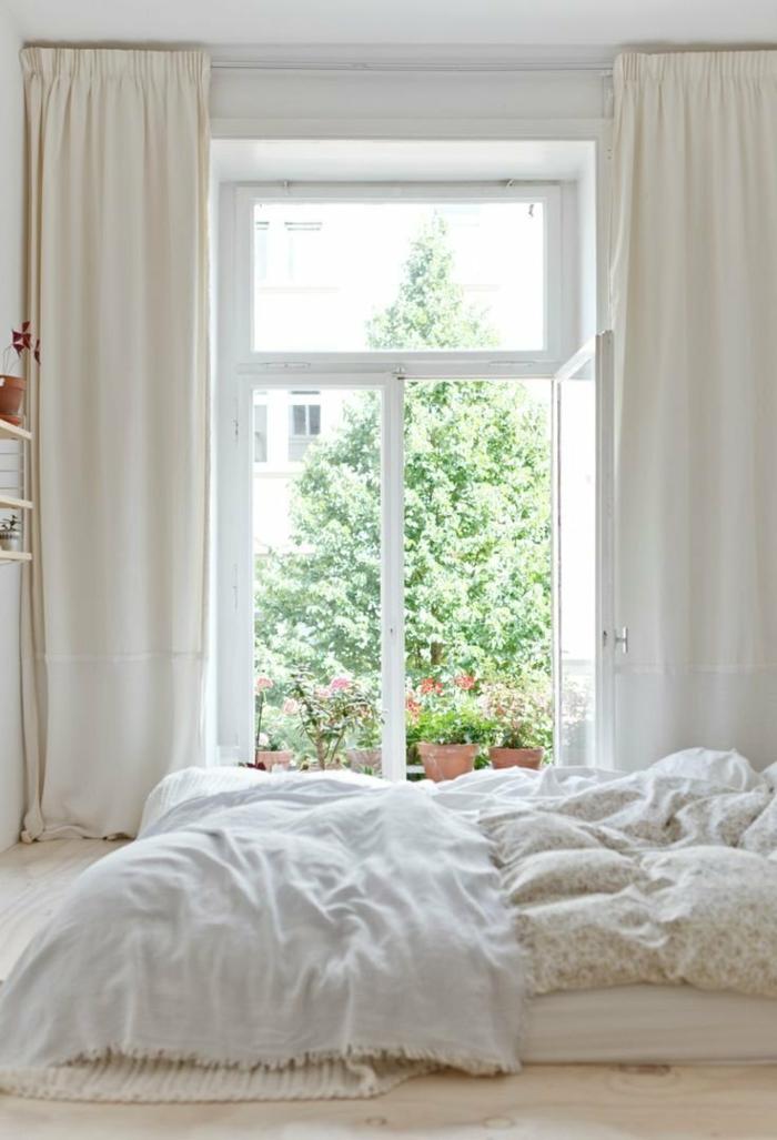 wandfarbe weiß wohnideen schlafzimmer fenster romantisch