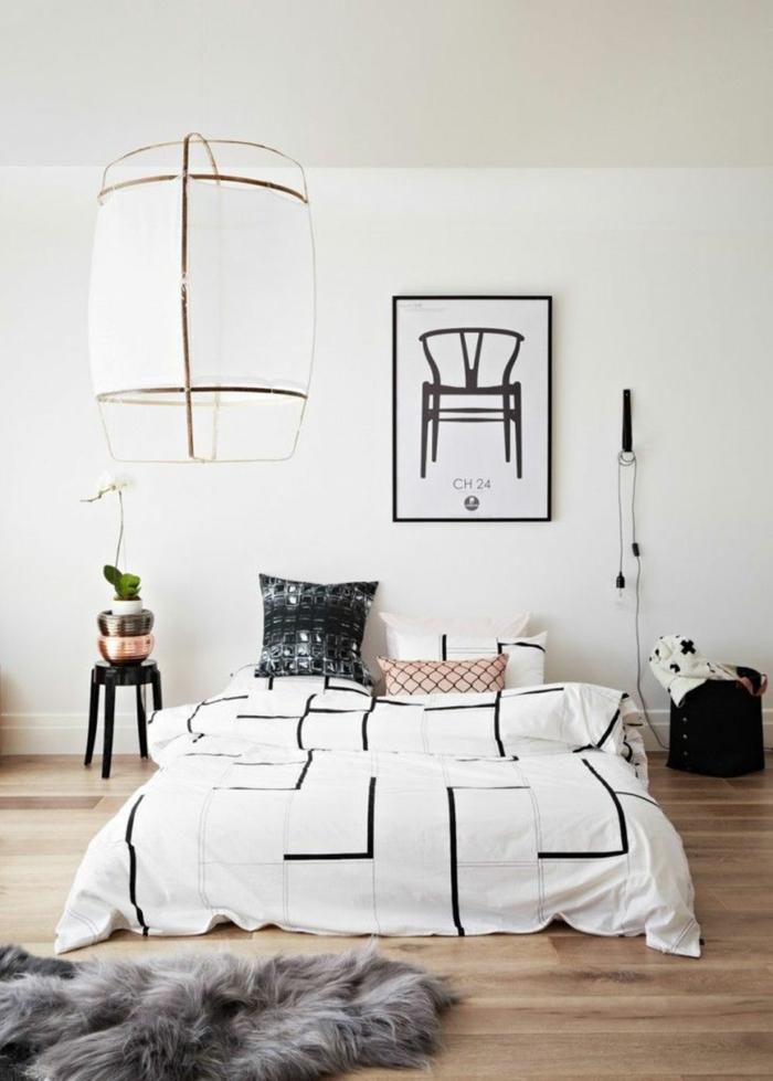 wandfarbe weiß wohnideen schlafzimmer minimalistisch